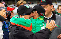Pole Weekend for the 87th Indianapolis 500, Indianapolis Motor Speedway, Speedway, Indiana, USA  25 May,2003.Mike Andretti congratulates teamate Tony Kanaan on capturing the pole. (at that time).World Copyright©F.Peirce Williams 2003 .ref: Digital Image Only..F. Peirce Williams .photography.P.O.Box 455 Eaton, OH 45320.p: 317.358.7326  e: fpwp@mac.com..