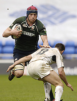 Reading, ENGLAND, Exiles Nick Kennedy, push's Sarries Kevin Sorrell out tof the way as he charges down fielf during the London Irish vs Saracens, Guinness Premiership Rugby, at the, Madejski Stadium, 06.05.2006, © Peter Spurrier/Intersport-images.com,  / Mobile +44 [0] 7973 819 551 / email images@intersport-images.com.