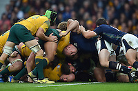 A scrum collapses. Rugby World Cup Quarter Final between Australia and Scotland on October 18, 2015 at Twickenham Stadium in London, England. Photo by: Patrick Khachfe / Onside Images