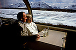 AK: Alaska Railroad, Luxury Car on the McKinley Explorer Train, model released.   .Photo Copyright Lee Foster, lee@fostertravel.com, www.fostertravel.com, (510) 549-2202.Image: akdena225