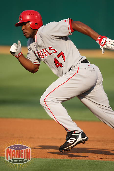 OAKLAND, CA - JULY 12:  Howie Kendrick of the Los Angeles Angels of Anaheim runs the bases during the game against the Oakland Athletics at the McAfee Coliseum in Oakland, California on July 12, 2008.  The Angels defeated the Athletics 4-1.  Photo by Brad Mangin