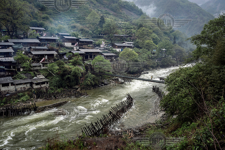 The Pula River & Cileng village, a tributary of the Nujiang River 2kms from its confluence in Gongshan.