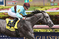 HALLANDALE BEACH, FL - MARCH 04:  #4 Bird Song with jockey Julien Leparoux on board, wins the Fred W. Hooper (Grade III) Stakes at Gulfstream Park on March 04, 2017 in Hallandale Beach, Florida. (Photo by Liz Lamont/Eclipse Sportswire/Getty Images)