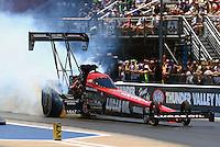 Jun 18, 2016; Bristol, TN, USA; NHRA top fuel driver Chris Karamesines during qualifying for the Thunder Valley Nationals at Bristol Dragway. Mandatory Credit: Mark J. Rebilas-USA TODAY Sports