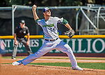 5 September 2016: Vermont Lake Monster pitcher Logan Shore on the mound against the Lowell Spinners at Centennial Field in Burlington, Vermont. The Lake Monsters defeated the Spinners 9-5 to close out their 2016 NY Penn League season. Mandatory Credit: Ed Wolfstein Photo *** RAW (NEF) Image File Available ***