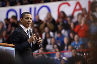 U.S. Democratic presidential hopeful Sen. Barack Obama, D-Ill., speaks to an estimated 8,000 people at a campaign rally at St. John's Arena on the campus of Ohio State University on February 27, 2008, in Columbus, Ohio. (Kevin Craiglow/PressPhotoIntl.com)