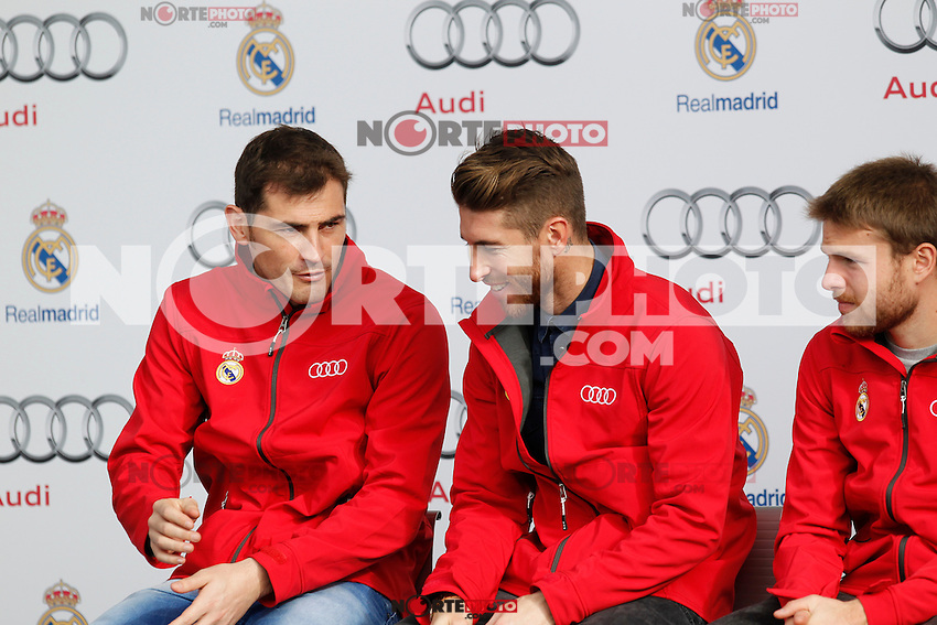 Casillas and Sergio Ramos participates and receives new Audi during the presentation of Real Madrid's new cars made by Audi in Madrid. December 01, 2014. (ALTERPHOTOS/Caro Marin) /Nortephoto