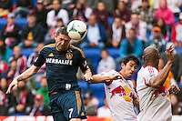 Robbie Keane (7) of the Los Angeles Galaxy takes a shot off a header late in the second half against the New York Red Bulls The New York Red Bulls defeated the Los Angeles Galaxy 1-0 during a Major League Soccer (MLS) match at Red Bull Arena in Harrison, NJ, on May 19, 2013.
