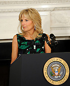 Dr. Jill Biden delivers remarks to the National Governors Association during a meeting in the White House State Dining Room, on Monday, February 27, 2012, in Washington, DC. .Credit: Leslie E. Kossoff / Pool via CNP