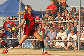 30 June 2004  Team USA's Jennie Finch makes a delivery while 1st basewoman Leah O'Brien-Amico readies for a bunt. Bloomington Lady Hearts vs. USA Olympic Softball Team.  Champion Field #1.  Normal Illinois