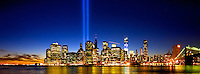 The Tribute in Light reaches into the sky on September 11, 2012.
