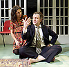The Divided Laing <br /> by Patrick Marmion <br /> at the Arcola Theatre, London, Great Britain <br /> press photocall <br /> 17th November 2015 <br /> <br /> Scene 1 (pregnant lady, no shoes)<br /> Alan Cox as R D Ronnie Laing <br /> Ameira Darwish as Ulrika Engel <br /> <br /> <br /> <br /> <br /> Photograph by Elliott Franks <br /> Image licensed to Elliott Franks Photography Services