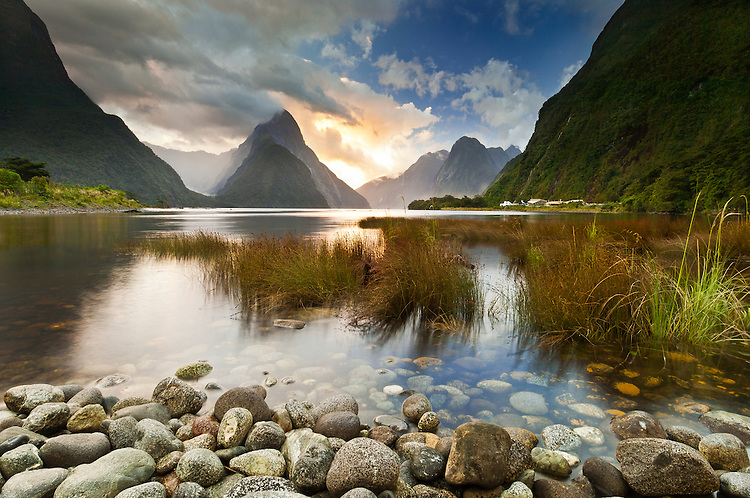Tranquil sunset at Milford Sound - Mitre Peak in the background, Fiordland National Park, South Island, New Zealand - stock photo, canvas, fine art print