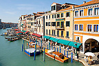 Grand Canal Venice at the Rialto with gondolas. Venice Italy