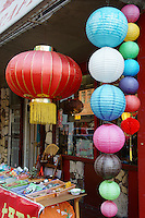 Colourful Chinese paper lanterns outside a shop in Chinatown, Vancouver, British Columbia, Canada