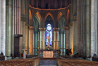 Nave and apse with Marc Chagall stained glass windows of the axial chapel in the distance, Notre-Dame de Reims (Our Lady of Rheims), pictured on February 15, 2009, 13th - 15th century, Roman Catholic Cathedral where the kings of France were crowned, Reims, Champagne-Ardenne, France.