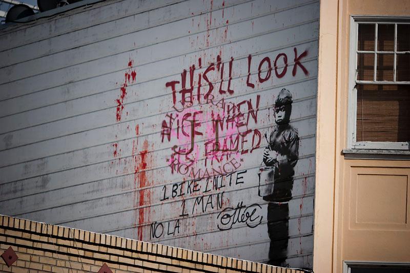Images of street graffiti artist Banksy's work in San Francisco, 2010