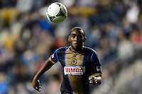 Amobi Okugo (14) of the Philadelphia Union. The Houston Dynamo defeated the Philadelphia Union 1-0 during a Major League Soccer (MLS) match at PPL Park in Chester, PA, on September 14, 2013.