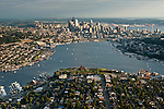 Aerial view of the Seattle skyline with Space Needle and Lake Union and Elliott Bay