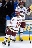 Ben Smith (Boston College - Avon, CT) exits the ice following warmups - Brian Boyle (Boston College - Hingham, MA) generally waits to be last off the ice. The Michigan State Spartans defeated the Boston College Eagles 3-1 (EN) to win the national championship in the final game of the 2007 Frozen Four at the Scottrade Center in St. Louis, Missouri on Saturday, April 7, 2007.