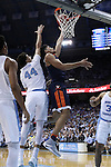 18 February 2017: Virginia's Isaiah Wilkins (right) and North Carolina's Justin Jackson (44). The University of North Carolina Tar Heels hosted the University of Virginia Cavaliers at the Dean E. Smith Center in Chapel Hill, North Carolina in a 2016-17 Division I Men's Basketball game. UNC won the game 65-41.
