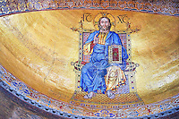 Moasic on the apse bowl-vault the great Christ Pantocrator, lord of the universe, is a 1506 reworking of the original Byzantine type image by a renaissance master mosaicist.
