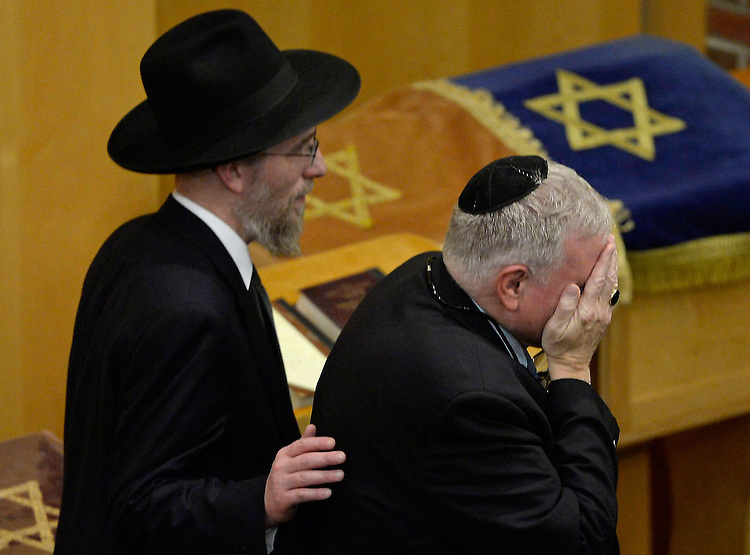 Friends of Rabbi Moshe Twersky — slain in a brutal terrorist attack at a Jerusalem synagogue — mourned the loss of a brilliant Massachusetts native who was hailed as a role model for countless students of the Torah during a memorial service at the Maimonides School on Tuesday, November 18, 2014. Photo by Christopher Evans