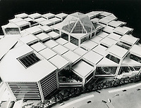 """UNDATED...Norfolk Gardens..MULTI-LEVELED ROOF SUGGESTS VARIETY OF NORFOLK GARDENS..The series of """"space frames"""" which compose the roof of Norfolk Gardens cover an interior open space of 80,000,000 cubic feet and a multitude of activities, according to present plans.  Completely enclosed, the 17 acre megastructure will provide an ideal recreational environment in downtown Norfolk....NEG#.NRHA#.."""