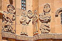 Bas Releif sculptures with scenes from the Bible, far left Jonah id swallowed by a whale,  on the outside of the 10th century Armenian Orthodox Cathedral of the Holy Cross on Akdamar Island, Lake Van Turkey 39