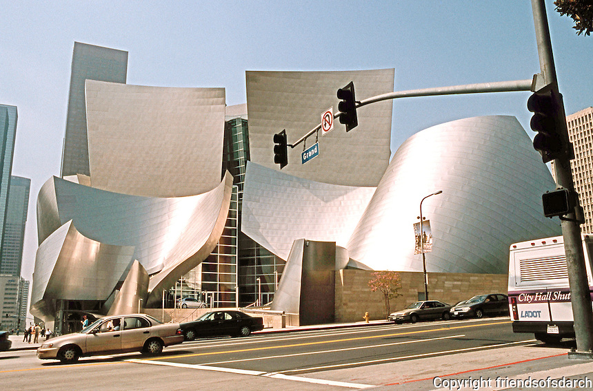 Frank Gehry: Disney Concert Hall Entrance from North side of First St., Los Angeles.  Photo '04.