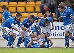 St Johnstone v Inverness Caledonian Thistle...05.10.13      SPFL<br /> Steven MacLean celebrates his third goal with his team mates<br /> Picture by Graeme Hart.<br /> Copyright Perthshire Picture Agency<br /> Tel: 01738 623350  Mobile: 07990 594431