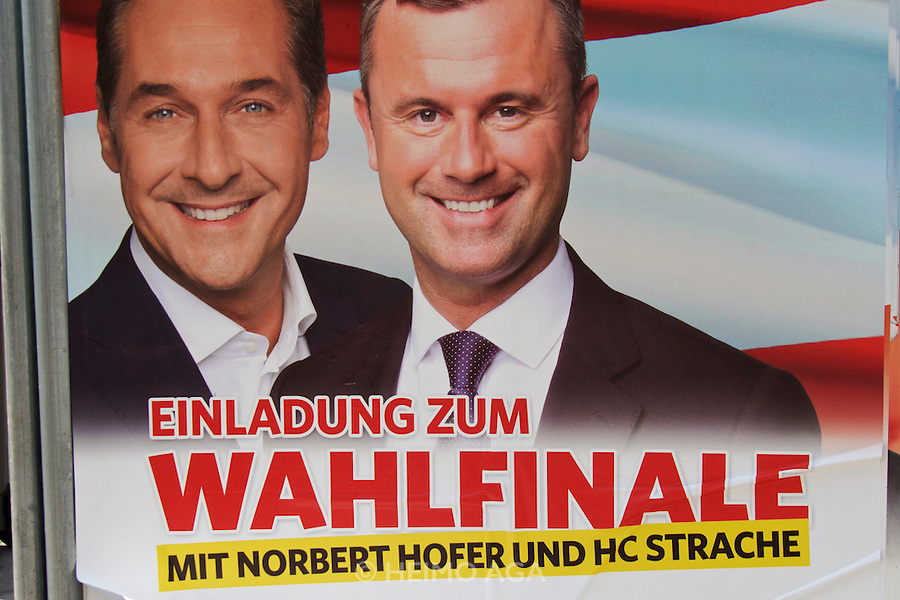 Vienna, Austria. Presidential Elections 2016. Election posters. Norbert Hofer (r.) with FPÖ head H.C. Strache.