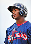 24 July 2010: Lowell Spinners outfielder Brandon Jacobs awaits his turn in the batting cage prior to a game against the Vermont Lake Monsters at Centennial Field in Burlington, Vermont. The Spinners defeated the Lake Monsters 11-5 in NY Penn League action. Mandatory Credit: Ed Wolfstein Photo