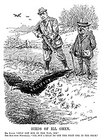 """Birds of Ill Omen. Mr Punch. """"Only got him in the tail, sir."""" The Man from Whitehall.  """"Yes, but I mean to get the next one in the neck."""" (a Pacifist crow flies off after leaving Pamphlets in a farmer's field during WW1)"""