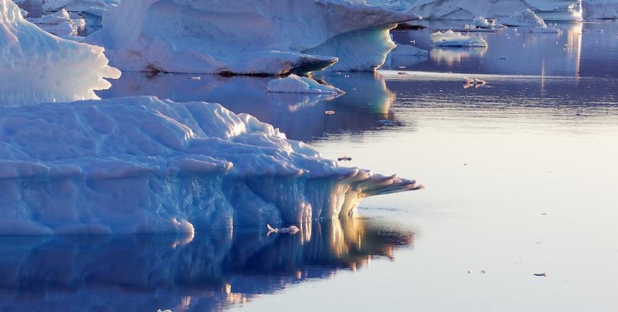 Icebergs on Sermilik Fjord near settlement of Tiniteqilaq, East Greenland