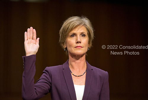 Former Acting Attorney General of the United States Sally Q. Yates is sworn-in to testify before the US Senate Committee on the Judiciary Subcommittee on Crime and Terrorism hearing titled &ldquo;Russian Interference in the 2016 United States Election&rdquo; on Capitol Hill in Washington, DC on Monday, May 8, 2017.<br /> Credit: Ron Sachs / CNP<br /> (RESTRICTION: NO New York or New Jersey Newspapers or newspapers within a 75 mile radius of New York City)
