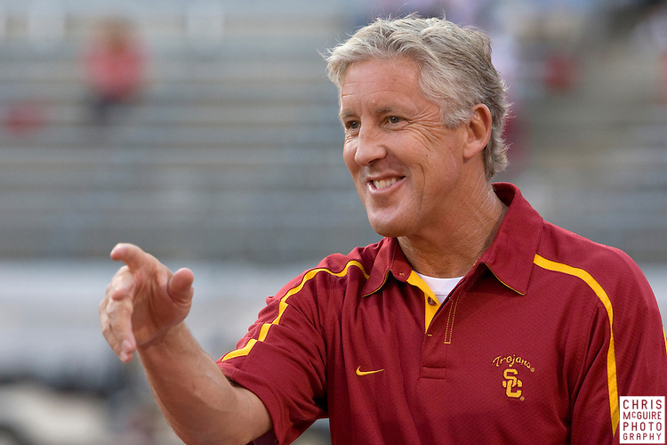 12 September 2009:  Football -- USC head coach Pete Carroll laughs before their game at Ohio Stadium in Columbus.  USC won 18-15.  Photo by Christopher McGuire.