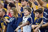 Landover, MD - SEPT 24, 2016: Young West Virginia Mountaineers fans celebrate following the teams 35-32 win against BYU at FedEx Field in Landover, MD. (Photo by Phil Peters/Media Images International)