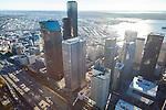 Aerial photos of skyscrapers in downtown Seattle