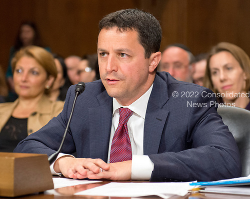 Steven A. Engel testifes before the United States Senate Committee on the Judiciary on his nomination to be an Assistant Attorney General, Office of Legal Counsel, US Department of Justice, on Capitol Hill in Washington, DC on Wednesday, May 10, 2017.<br /> Credit: Ron Sachs / CNP