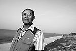 Kim Seong-do, who resides with his wife on disputed Dokdo Island, walks along the beaches near the East Sea Research Institute in Gyeongbuk, South Korea on 21 June 2010..Photographer: Robert Gilhooly