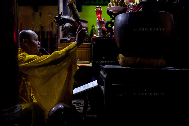 Buddhist monk Hue Minh prays at the Giac Vien Pagoda in District 11 in Ho Chi Minh City, Vietnam. Photo taken Monday, May 3, 2010...Kevin German / LUCEO