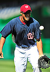 23 April 2010: Washington Nationals' center fielder Justin Maxwell warms up prior to a game against the Los Angeles Dodgers at Nationals Park in Washington, DC. The Nationals defeated the Dodgers 5-1 in the first game of their 3-game series. Mandatory Credit: Ed Wolfstein Photo
