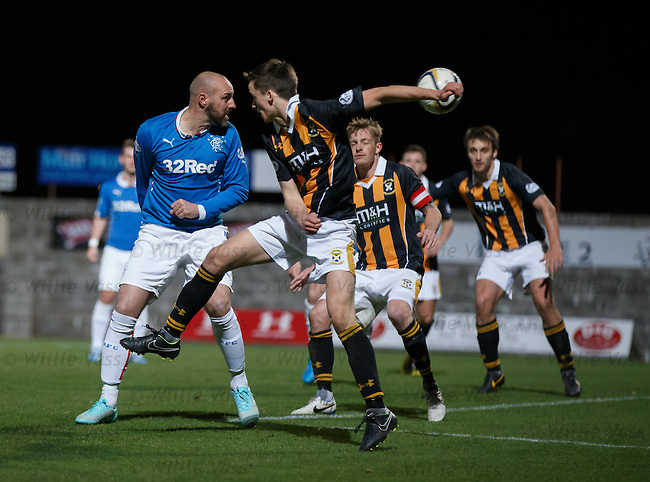 Kris Boyd heads an effort towards goal but sees it saved