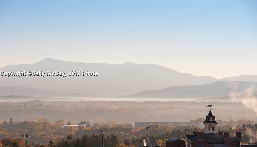 View of Mount Mansfield, Fall UVM Campus