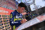 Sprinter Caleb Ewan (AUS) Orica-Scott at sign on before the start of the 108th edition of Milan-San Remo 2017 by NamedSport the first Classic Monument of the season running 291km from Milan to San Remo, Italy. 18th March 2017.<br /> Picture: La Presse/Gian Mattia D'Alberto | Cyclefile<br /> <br /> <br /> All photos usage must carry mandatory copyright credit (&copy; Cyclefile | La Presse)