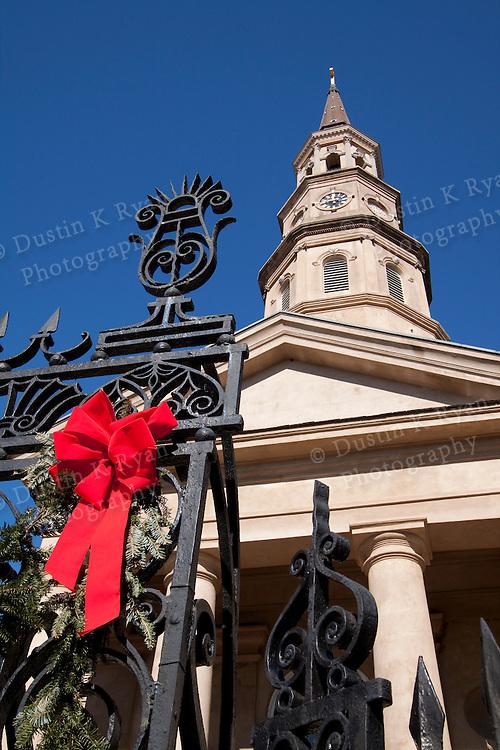 St Philips Church Downtown Charleston South Carolina Blue Sky