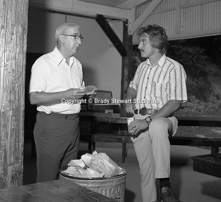 Bethel Park PA:  View of head Athletic Director Dan Galbraith (left) at the annual Bethel Park Athletic Association picnic at Lyons Park.  <br />