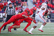 College Park, MD - November 12, 2016: Ohio State Buckeyes running back Mike Weber (25) avoids a tackle by a Maryland Terrapins defender during game between Ohio St. and Maryland at  Capital One Field at Maryland Stadium in College Park, MD.  (Photo by Elliott Brown/Media Images International)