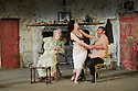 London, UK. 22/07/2011. &quot;The Beauty Queen of Leenane&quot; by Martin McDonaugh returns to the Young Vic. Rosaleen Linehan as Mag Folan, Derbhle Crotty as Maureen Folan, and Frank Laverty as Pato Dooley. Photo credit: Jane Hobson